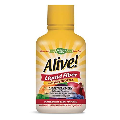 Nature's Way Alive! Liquid Fiber w/Prebiotics, 5g Non-GMO Fiber, Pomegranate-Berry Flavor, 16 Oz.
