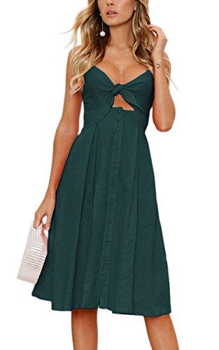 ECOWISH Damen V Ausschnitt A-Linie Kleid Träger Rückenfreies Kleider Sommerkleider Strandkleider Knielang Cyanblau L