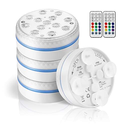 Deckey Sommergibili Luci LED Piscina, Luce Subacquea Impermeabile 13 LED, Illuminazione RGB con Telecomando RF, per Piscina, Vaso, Doccia, Acquario e Partito, IP68