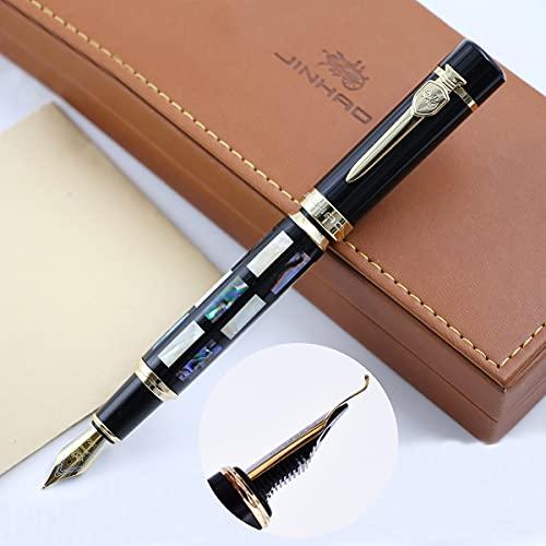 JinHao 650 - Penna stilografica calligrafia, pennino curvato con conchiglie e pennini, confezione regalo di lusso