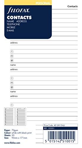 Filofax 130201 Kontakte Organizer, Englisch, weiß