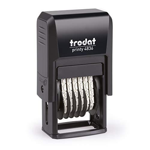 Trodat Printy 4836 - Sello para cifras (6 cifras, tamaño de tipo 3,8 mm) color negro, 25x41x73 mm