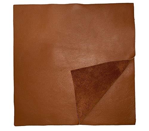 Natural Grain Cowhide Leather: 12'' x 12'' Pre-Cut Pieces (Cognac)