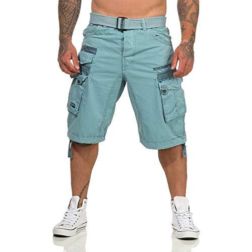 Geographical Norway PANORAMIQUE MEN - Bermudas Short Algodón Fit - Pantalones Cortos Deportivos Para Hombres - Bermudas Hombre - Shorts Cortos Cinturón - Bermuda Ajuste Normal Cómodo AZUL 3XL