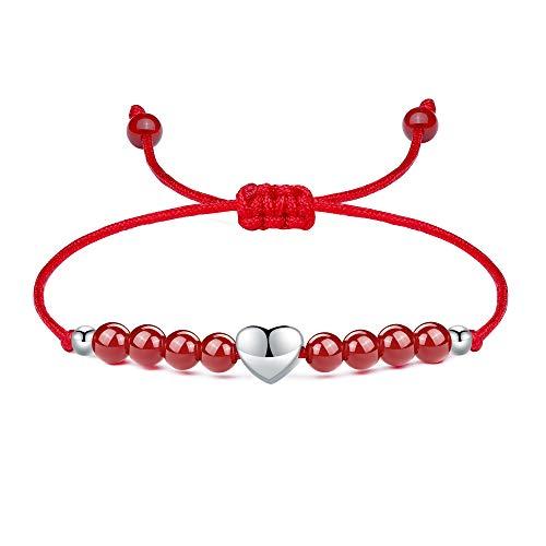 J.Endéar Pulseras Corazón Mujer Plata de Ley, Pulsera Personalizadas Amistad Cuerda Trenzada Rojo, Pulsera de Piedra Regalo Familiar Joyas