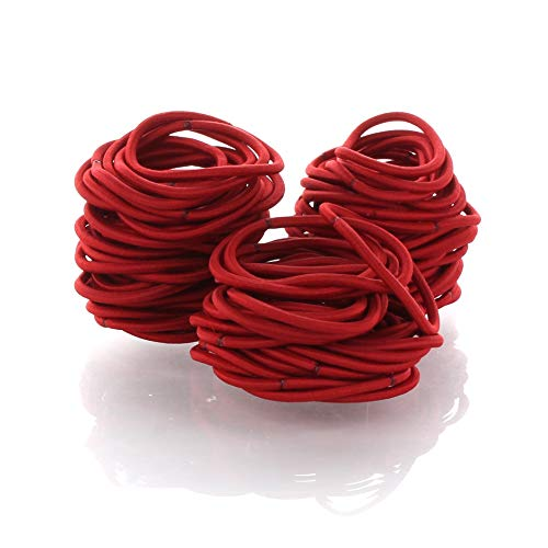My Lello Hair Elastics Hair Ties, Professional Grade Ponytail Holders - Red 20 Pack
