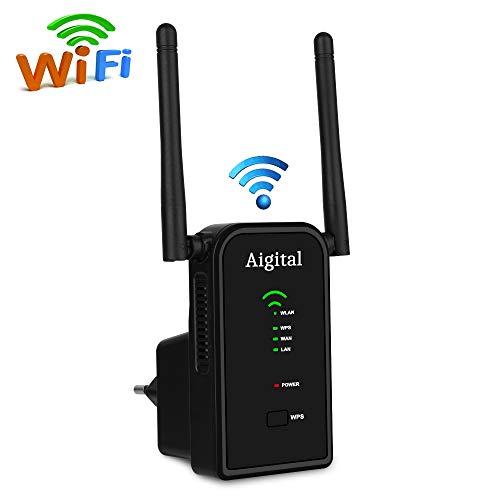 Aigital WLAN Repeater WLAN Verstärker Accesspoint Router (WLAN Bandbreite mit bis 300 Mbits über 2,4 GHz + 2 Fast Ethernet WAN/LAN, WPS, universell kompatibel mit jedem Router/Modem)