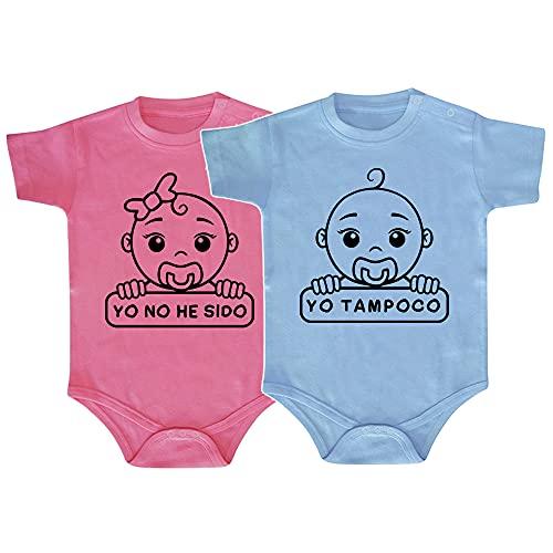 ClickInk Pack 2 bodys. Yo no he sido. Regalo gemelos, regalo mellizos, regalo bebé, set de bodys de bebé. (1 azul y 1 rosa, 9 meses)