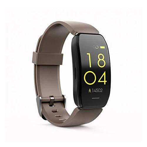 LYB C114 Tarea De Cardiaco Presión Arterial Monitor De Color Sport Smart Bracelet Watch for iOS Android (Color : Coffee)