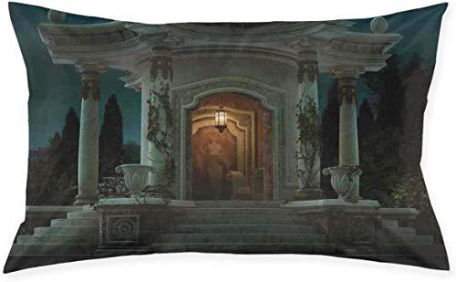 Kussen Sham, Romeinse paviljoen lantaarn Ivy op pijlers onder koepel middeleeuwse architectuur mystiek Thema, Decoratieve Standaard Queen Size PrInchested Kussensloop, kussensloop 16x24inch 16x24in 1 kleur