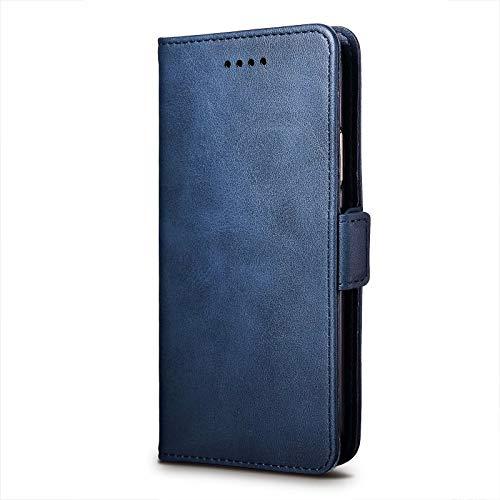 cookaR ZTE Axon 10 Pro 5G Handy Hülle Tasche Flip Hülle Kredit Karten Fach Geldklammer Leder Handy Schutzhülle Unsichtbar Magnet Verschluss Standfunktion,Blau