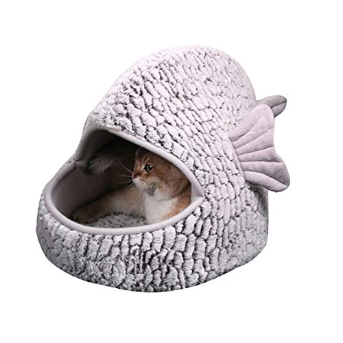SYLTL Pet Bed Cat Igloo Bed, Simulation Fish Soft and Fluffy Plush Cave Bed with Cushion Washable Enclosed Pet Bed for Cats and Puppies,40 * 61 * 44cm,M