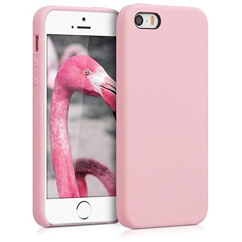 kwmobile Hülle kompatibel mit Apple iPhone SE (1.Gen 2016) / 5 / 5S - Handyhülle gummiert - Handy Case in Peach Skin