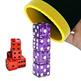Dice Stacking Cup Set with 4 Pcs 19mm and 5 Pcs 18mm Standard 6 Sided Dices Straight Dice Cup with Storage Bag Dice Cup Shaker with Magic Tricks Instruction Black