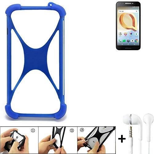 K-S-Trade® Handyhülle Für Alcatel A30 Plus Bumper Schutzhülle Silikon Schutz Hülle Cover Case Silikoncase Silikonbumper TPU Softcase Smartphone, Blau (1x), Headphones