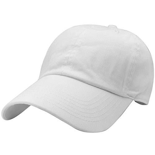 Falari Classic Baseball Cap Dad Hat 100% Cotton Soft Adjustable Size White