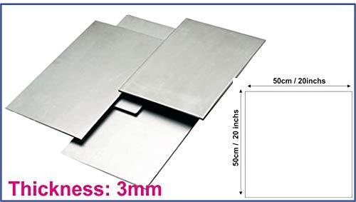 Chapa de acero de hierro suave de 3 mm de grosor natural, corte de guillotina, varios tamaños 50cm x 50cm gris