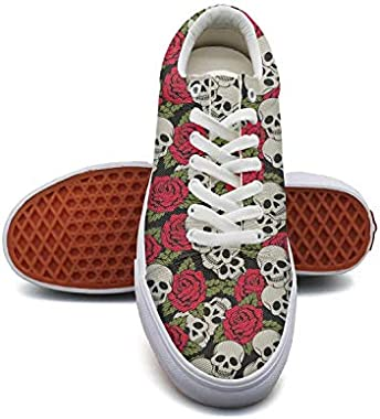 fvnoui Women'sVintage Red Rose Skull Canvas Shoes Low-Cut Straps Funky Sneakers Suitable for Walking