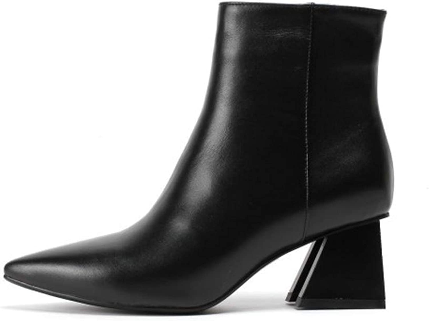 Women's Leather Boots, Pointed Toe Rough High Heels Winter Fashion Boots Mid-Calf Boots Zipper Beige Black (color   A, Size   39)