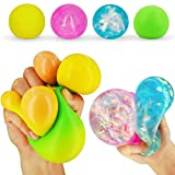 Stress Balls for Kids Adults Fidget Sensory Balls Squishies Balls Squeezing Balls Stress Relief Fidget Toy Balls to Relieve Anxiety,Improve Focus,Color-Changing Balls Glittery Anxiety Toys