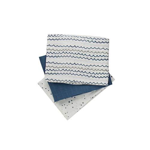 Popolini Baumwoll Mulltücher 3er Pack 70x70 cm (Starry Sea)