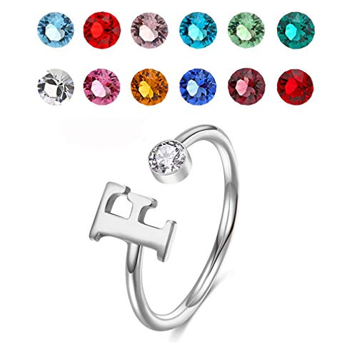 LONAGO 925 Sterling Silver Personalised Letter Ring Adjustable Custom Initial Letter Birthstone Name Open Ring for Women (Silver)