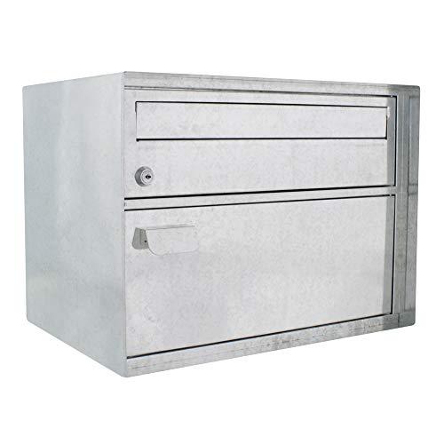 HomeDesign brievenbus HDM-410 verzinkt, cilinderslot, stalen brievenbus, pakketten, kliksluiting