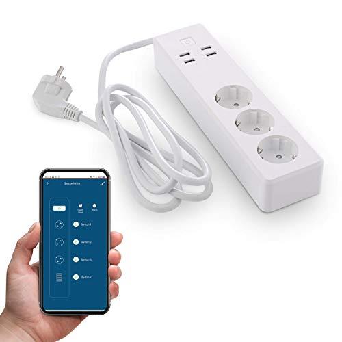 Goliath WLAN Steckdose, 3-Fach Steckdosenleiste mit USB Anschluss, Smart Home Wifi Stecker, App Steuerung, Alexa kompatibel