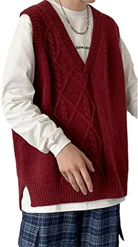 BABAOLI Coreano Suéter Chaleco De Los Hombres Con Cuello En V Suéter De Punto De Los Hombres Streetwear Suelto Chaleco De O, Vino, Medium