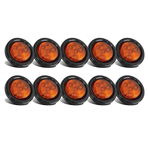 """Partsam 10x Amber 2"""" Round Sealed Led Clearance Marker Light 4LED Grommet Mount RV Accessories, Reflective 2 Inch Round Trailer Led Side Marker Lights Lamps Kit Flush Mount with Wire Pigtails"""