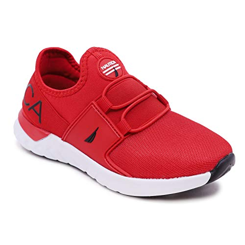Nautica Kids Youth Sneaker Athletic Slip-On Bungee Running Shoes Boy - Girl Little Kid-Big Kid-Neave Molded-Red Mono Black Pop-5