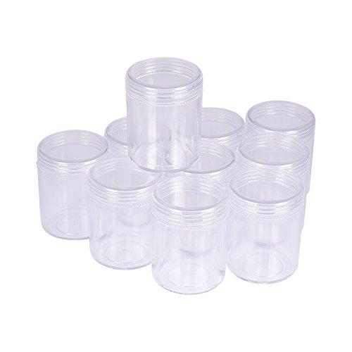 PandaHall 10 Stück 39x50mm Rund Kunststoff Leere Perlendosen Sortierdosen Sortierbox Aufbewahrungsbox für Acrylpulver Strass Anhänger und Andere Nail Zubehör Transparent