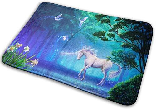 RedBean93 - Felpudo de Entrada con diseño de Unicornio arcoíris Personalizable para Interiores, Absorbente, Lavable, Antideslizante, Alfombra de Bienvenida para Cocina, baño, 40 x 60 cm