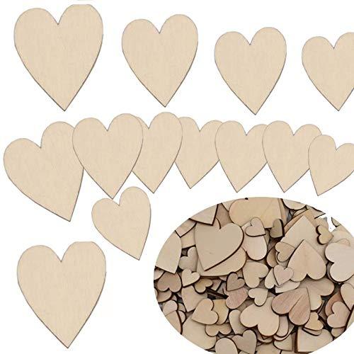 300 Piezas Corazón de Madera Rebanadas,Yueser Adornos Madera Natural Decoración,Artesanía en madera boda,viruta de Madera para Festival DIY hogar (15mm 20mm 30mm 40mm)