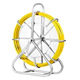 Happybuy Fish Tape Fiberglass 6MM 425FT, Duct Rodder Fish Tape Puller Fiberglass Wire Cable Running with Cage and Wheel Stand,Durable Steel Reel Stand,Fish Tape Min Bending Radius 12 inch/300 mm