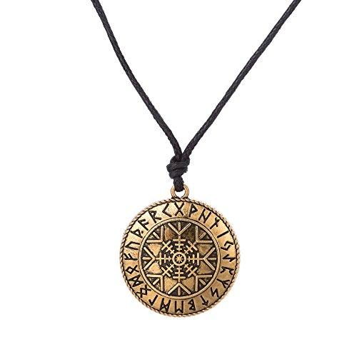 VASSAGO Vintage Talismán Nórdico Viking Runes Yelmo de Awe Asatru Aegishjalmur Colgante Collar Amuleto para hombres y mujeres