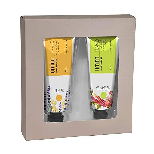 UMIDO Beautyset | 1x Handcreme 30 ml Honig-Extrakt & Lavendelöl | 1x Handcreme 30 ml Rosen-Extrakt & Rhabarber-Extrakt | 1x Geschenk-Box (6-BYS)