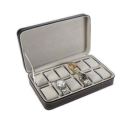 BWCGA Caja de Reloj - la Caja de Cuero de la Cremallera del Bolso de 12 bits exhibición del Reloj Caja de Reloj de Almacenamiento de artículos