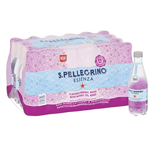 S.Pellegrino Essenza Dark Morello Cherry & Pomegranate Flavored Mineral Water, 16.9 fl oz. Plastic Bottles (24 Count)