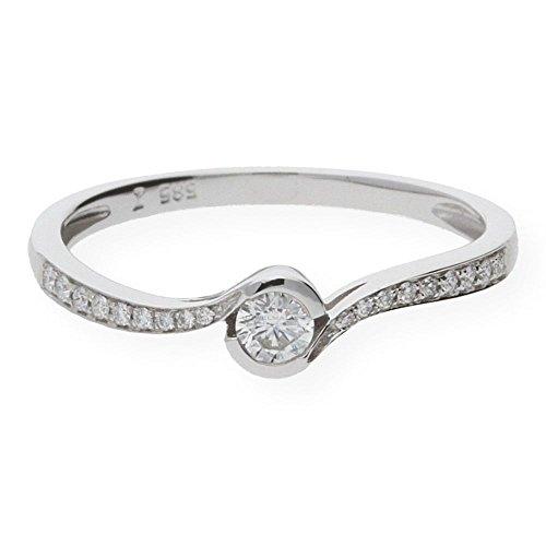 JuwelmaLux ring witgoud 585/000 met briljant 0,20 karaat JL10-07-0081 maat 52