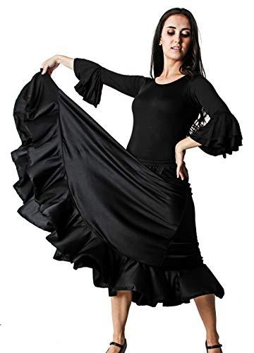 Gojoy shop- Traje Profesional de Baile Danza Flamenco o Sevillanas para Mujer de 2 Piezas (Contiene Body con Doble Volantes en Manga y Falda con Un Volante Liso (XL, Negro)