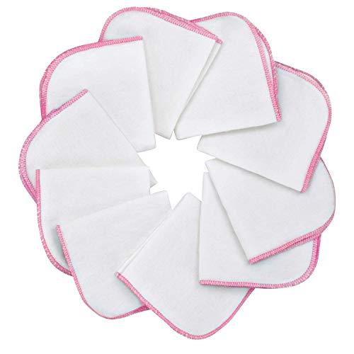 Mias Baby-Waschlappen aus Molton Flanell – 10 Stück, aus Baumwolle, Farbe: weiß-rosa, schadstofffrei/Baby-Tücher/Kosmetik-Tücher/Allzwecktücher