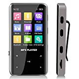 Portable Bluetooth MP3 Player with Clip - Wireless Mini Digital HiFi Lossless Sound Music Players with 2.4 '' Screen, Wearable Small Black Walkman Audio Player with 32GB Memory for Sport and Running