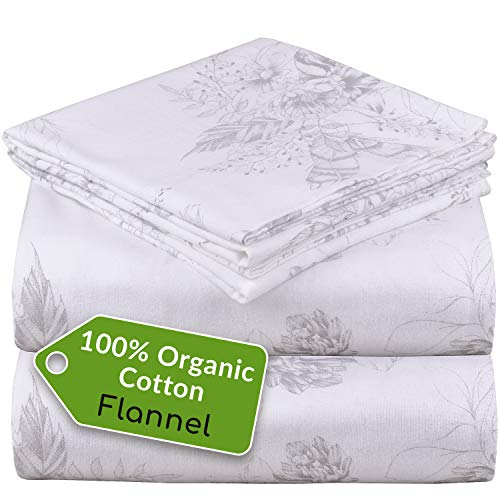 Mellanni 100% Organic Cotton Flannel Sheet Set - Heavyweight 180GSM 4 pc Printed Luxury Bed Sheets - Cozy, Soft, Warm, Breathable Bedding - Deep Pockets - All Around Elastic (Queen, Floral Feathers)