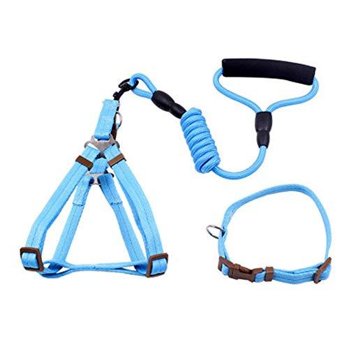 KACT Animales pequeños Perros Grandes Collar de proteción de la Cuerda de tracción, 360 ° no Hay Extremos Ganchos Muertos, diseño Ajustable (Color : Azul, Size : XL)