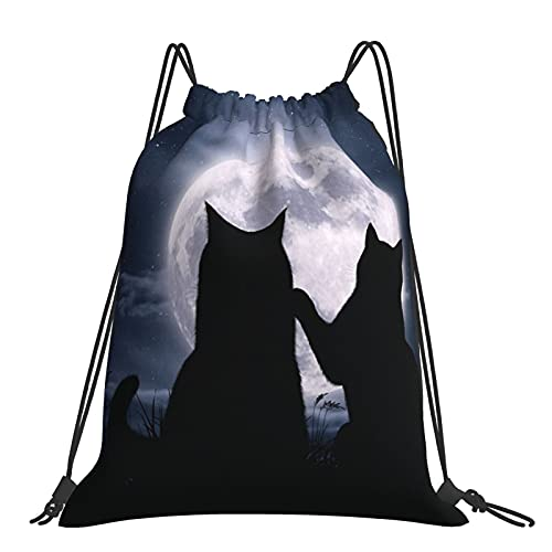 Drawstring Backpack Full Moon Stars Black Love Between Two Cats String Storage Bags Sports Yoga Gym Travel Swimming Sackpack For Men Women Girls