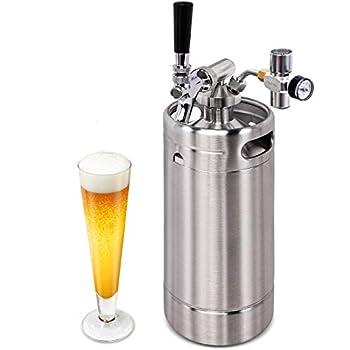 NutriChef Pressurized Growler Tap System - Stainless Steel Mini Keg Dispenser Portable Kegerator Kit - Co2 Pressure Regulator Keeps Carbonation for Craft Beer Draft and Homebrew - PKBRTP100.5  128oz