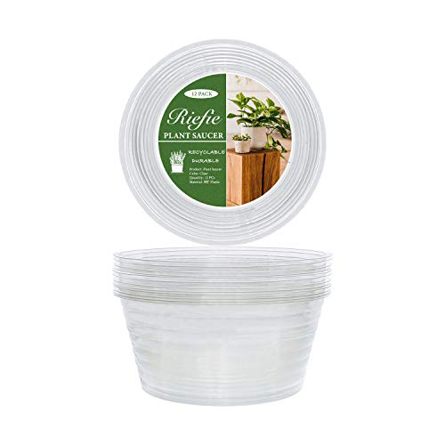 Riefie 12 Pack of 8 inch Plastic Plant Saucer, Clear Drip Trays for Indoors & Outdoor Plants, Thin Deep Flower Pot (8'')