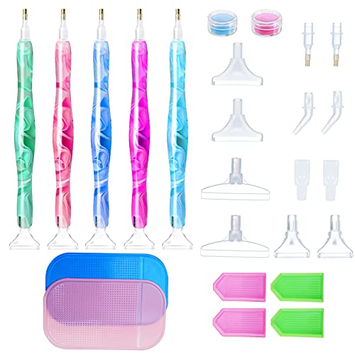 31 Pcs 5D DIY Diamond Painting Tools for Adult, Includes 5 Diamond Painting Pens, 12 Metal tip, 4 Plastic Trays, 2 Anti-Slip Pads and 8 Glue Clay for Painting Cross Stitch and Nail Art