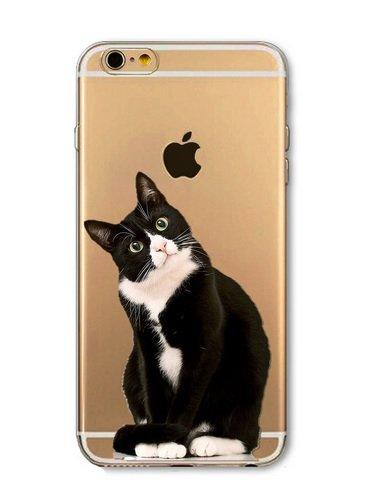 Cover morbida in silicone TPU per iPhone 5 e 5S, motivo: grande gatto, colore: nero